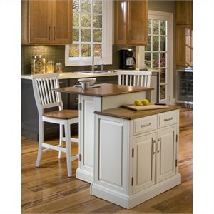 Home Styles Woodbridge Kitchen Island and Bar Stools 3 Piece Set