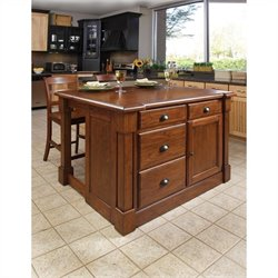 Home Styles Aspen Kitchen Island and Bar Stools 3 Piece Set