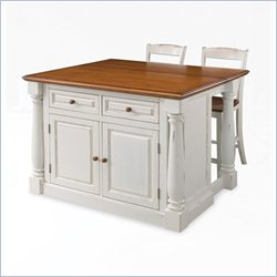 Home Styles Monarch Kitchen Island and Stools 3 Piece Set in White