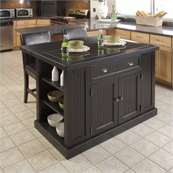 3 Piece Granite Top Kitchen Island Set in Distressed Black