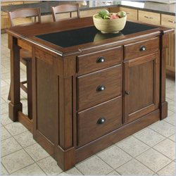 Home Styles Aspen Granite Top Kitchen Island and Stools 3 Piece Set