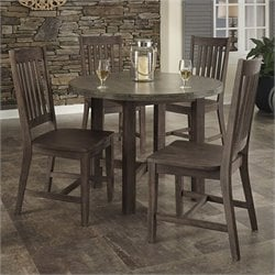 Home Styles Concrete Chic 5 Piece Dining Set in Brown and Gray