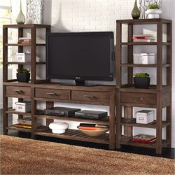 Home Styles Barnside 3 Piece Entertainment Center in Aged Barnside