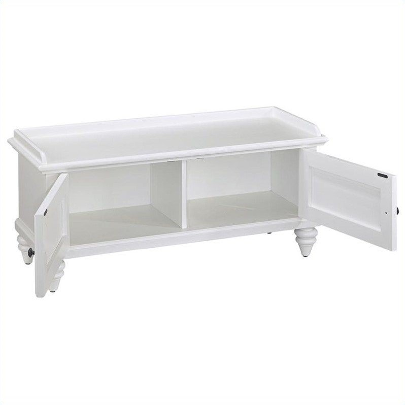 Upholstered bench in brushed white 5543 26 White upholstered bench