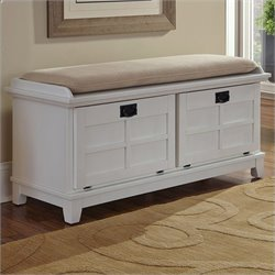 Home Styles Arts and Crafts Upholstered Bench in White