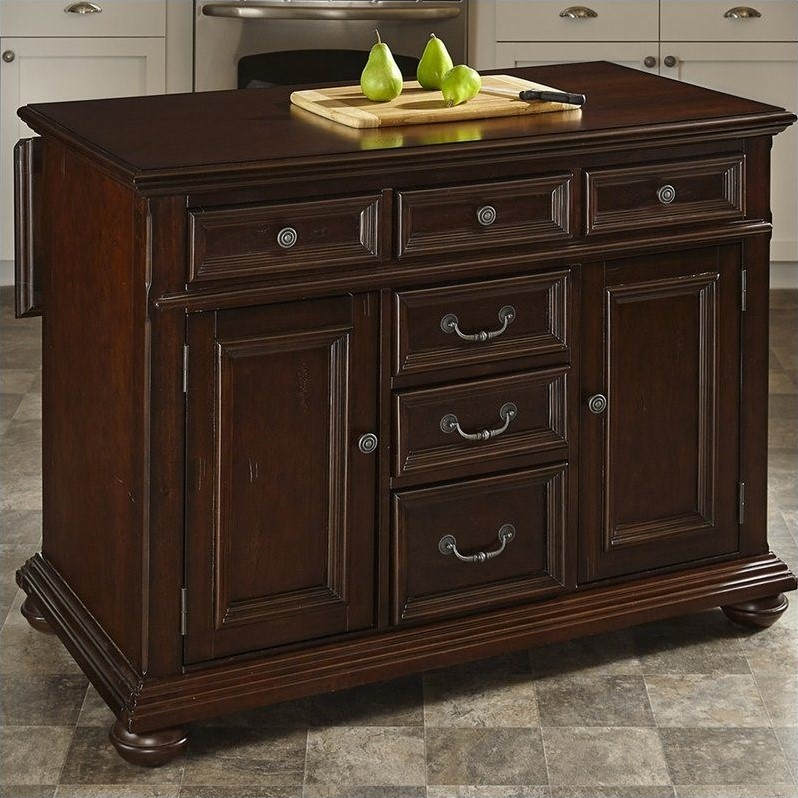 Colonial Classic Kitchen Island with Wood Top in Dark Cherry  5528 94
