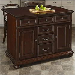 Home Styles Colonial Classic Kitchen Island with Wood Top and Stools in Dark Cherry