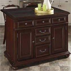Home Styles Colonial Classic Kitchen Island and Stools in Dark Cherry