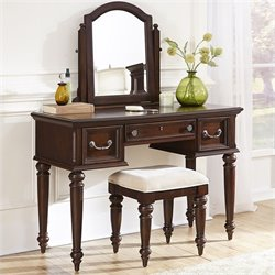 Home Styles Colonial Classic Vanity and Bench in Dark Cherry