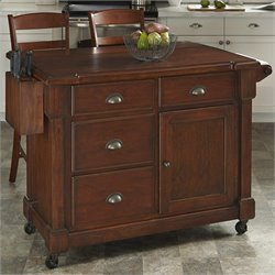 Home Styles Aspen Kitchen Cart and Two Stools in Rustic Cherry