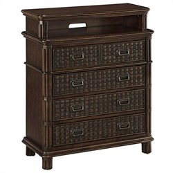 Home Styles Castaway Media Chest in Dark Mahogany
