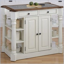 Home Styles Americana Granite Kitchen Island in Oak and White