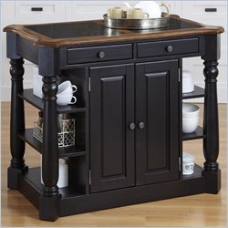 Home Styles Americana Granite Kitchen Island in Oak and Black