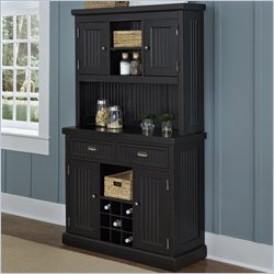 Home Styles Nantucket Buffet and Hutch in Black