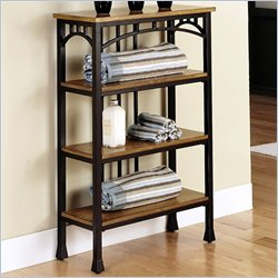 Home Styles Modern Craftsman Four Tier Shelf in Oak and Brown