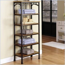 Home Styles Modern Craftsman Six Tier Shelf in Oak and Brown