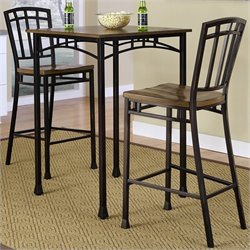 3 Piece Bistro Set in Oak and Brown