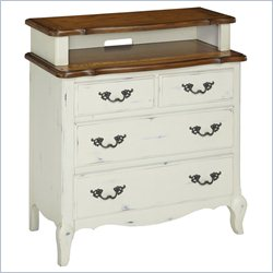 Home Styles French Countryside Media Chest in Rubbed White and Oak
