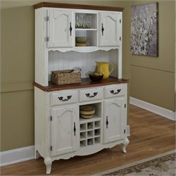 Home Styles French Countryside Buffet and Hutch in Oak and Rubbed White