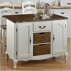 Home Styles French Countryside Kitchen Island and Two Stools in Oak and Rubbed White