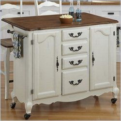 Home Styles French Countryside Kitchen Cart and Two Stools in Oak and Rubbed White