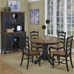 5 Pieces Dining Set in Oak and Rubbed Black
