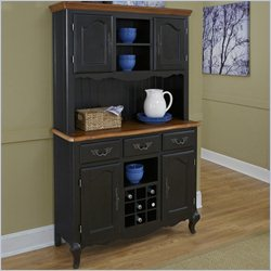 Home Styles French Countryside Buffet and Hutch in Oak and Rubbed Black