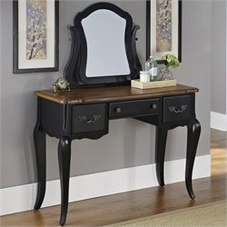 Home Styles French Countryside Vanity and Mirror in Oak and Rubbed Black
