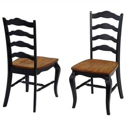Home Styles French Countryside Dining Chair Pair in Oak and Rubbed Black