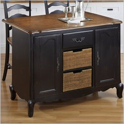 Home Styles French Countryside Kitchen Island and Two Stools in Oak and Rubbed Black