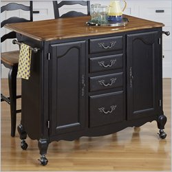 Home Styles French Countryside Kitchen Cart and Two Stools in Oak and Rubbed Black
