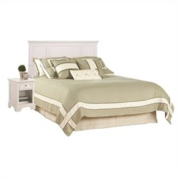 Home Styles Naples King Panel Headboard with Night Stand in White