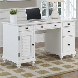 Home Styles Bermuda Pedestal Desk in Brushed White