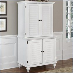 Home Styles Bermuda Computer Cabinet and Hutch in Brushed White