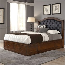 Home Styles Duet Bed with Black Leather in Rustic Cherry - Queen