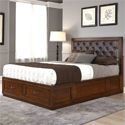 Home Styles Duet Panel Bed with Brown Leather in Rustic Cherry - Queen