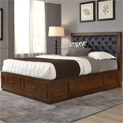 Home Styles Duet Panel Bed with Black Leather in Rustic Cherry - King