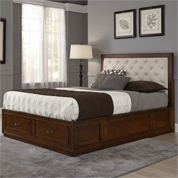 Panel Bed with Oyster Microfiber in Rustic Cherry