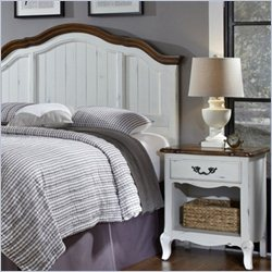 Home Styles French Countryside Headboard with Night Stand in Oak and Rubbed White - Queen
