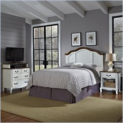 Home Styles French Countryside Bedroom Set with Media chest in Oak and Rubbed White - Queen