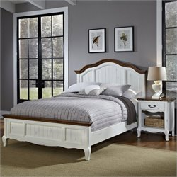 Home Styles French Countryside Bed with Night Stand in Oak and Rubbed White