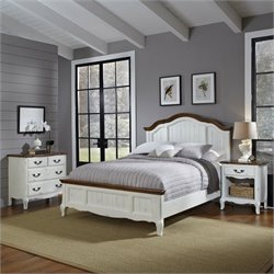 Home Styles French Countryside 3 Piece Bedroom Set in Oak and Rubbed White - Queen