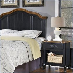 Home Styles French Countryside Headboard with Night Stand in Oak and Rubbed Black - Queen