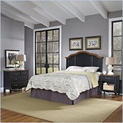 Home Styles French Countryside Bedroom Set in Oak and Rubbed Black - Queen
