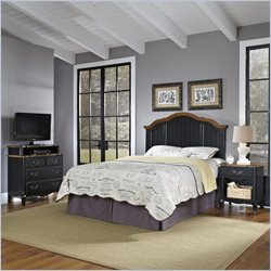 Home Styles French Countryside Bedroom Set with Media Chest in Oak and Rubbed Black - Queen