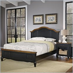 Home Styles French Countryside Bed with Night Stand in Oak and Rubbed Black - Queen
