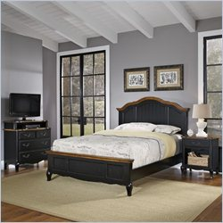 Home Styles French Countryside Bed Set with Media Chest in Oak and Rubbed Black - Queen