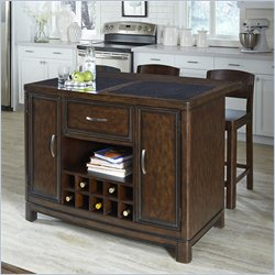 Home Styles Crescent Hill Kitchen Island with 2 Stools in Tortoise