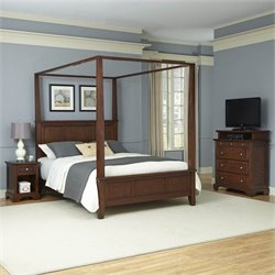 Home Styles Chesapeake Canopy Bed Night Stand and Media Chest - Queen