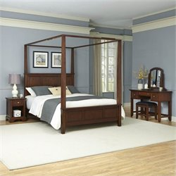 Home Styles Chesapeake Canopy Bed Night Stand Vanity and Bench - Queen